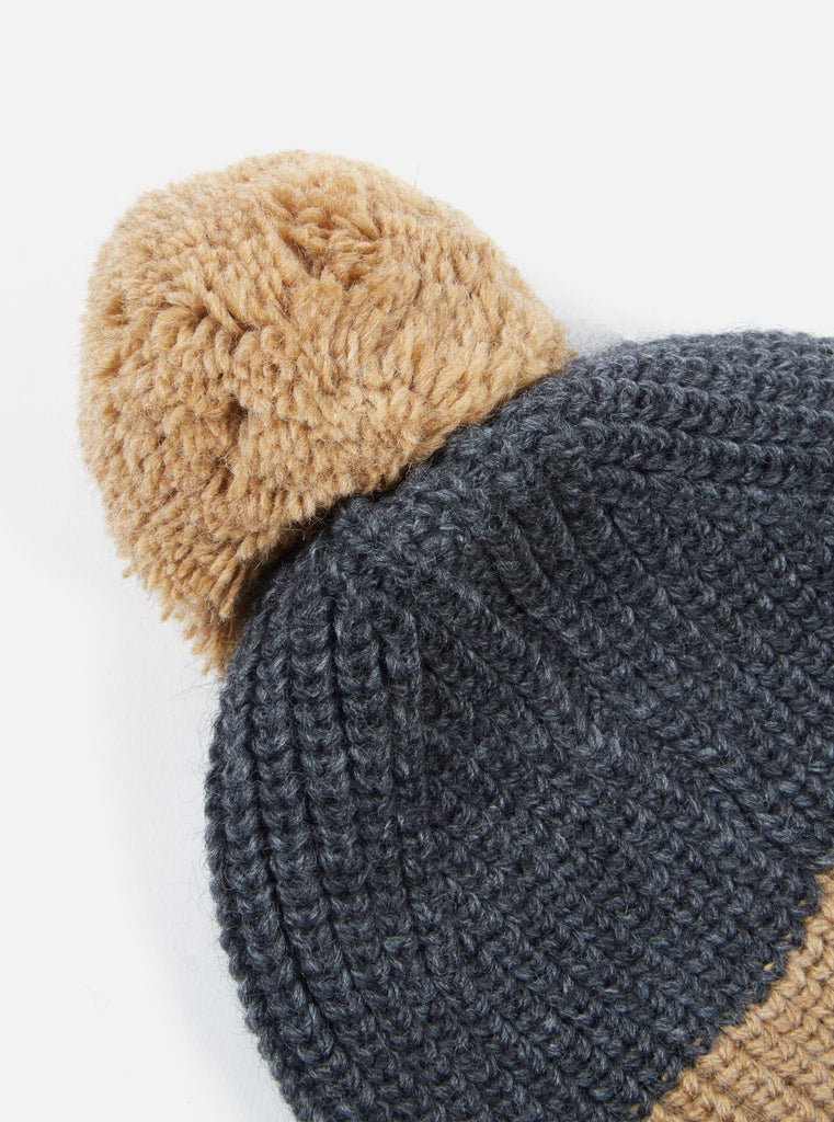 Universal Works Bobble Hat in Charcoal/Sand Alpacawool