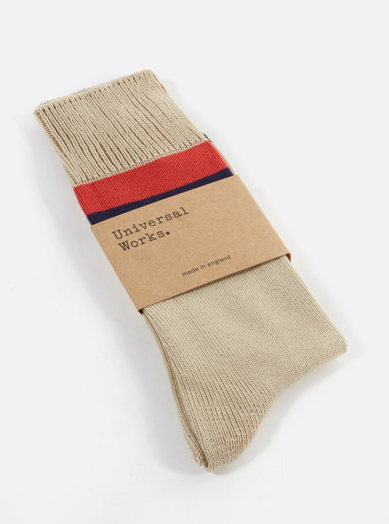 Universal Works Sport Stripe Sock in Ecru Cotton