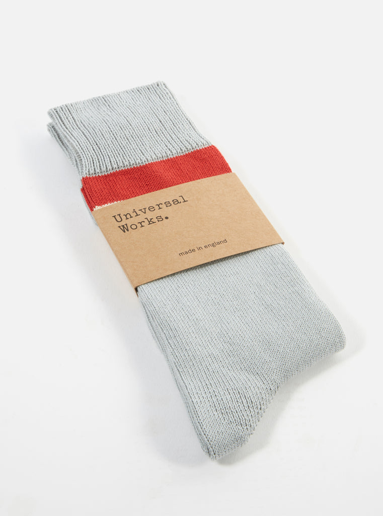 Universal Works Sport Stripe Sock in Grey Cotton