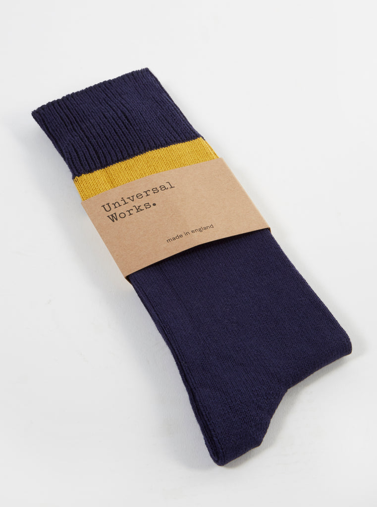 Universal Works Sport Stripe Sock in Navy Cotton