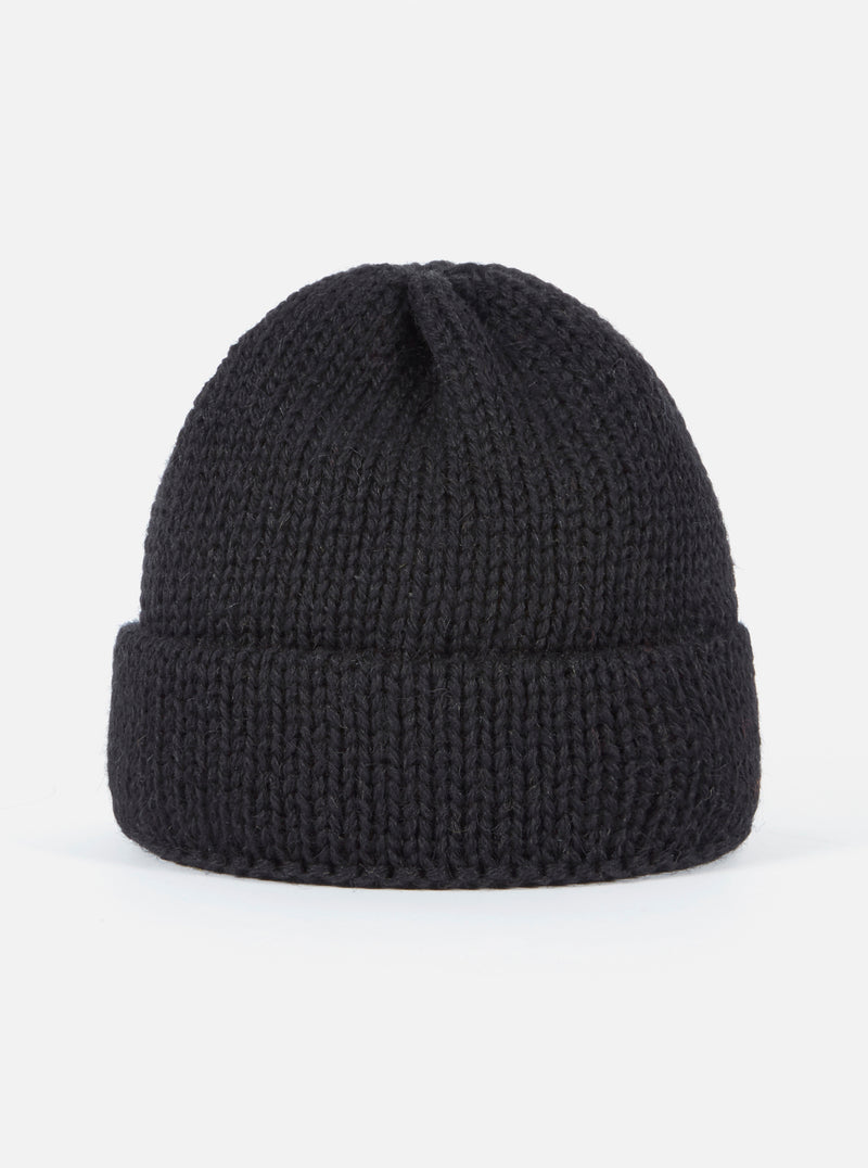 Universal Works Short Watch Cap in Black British Wool