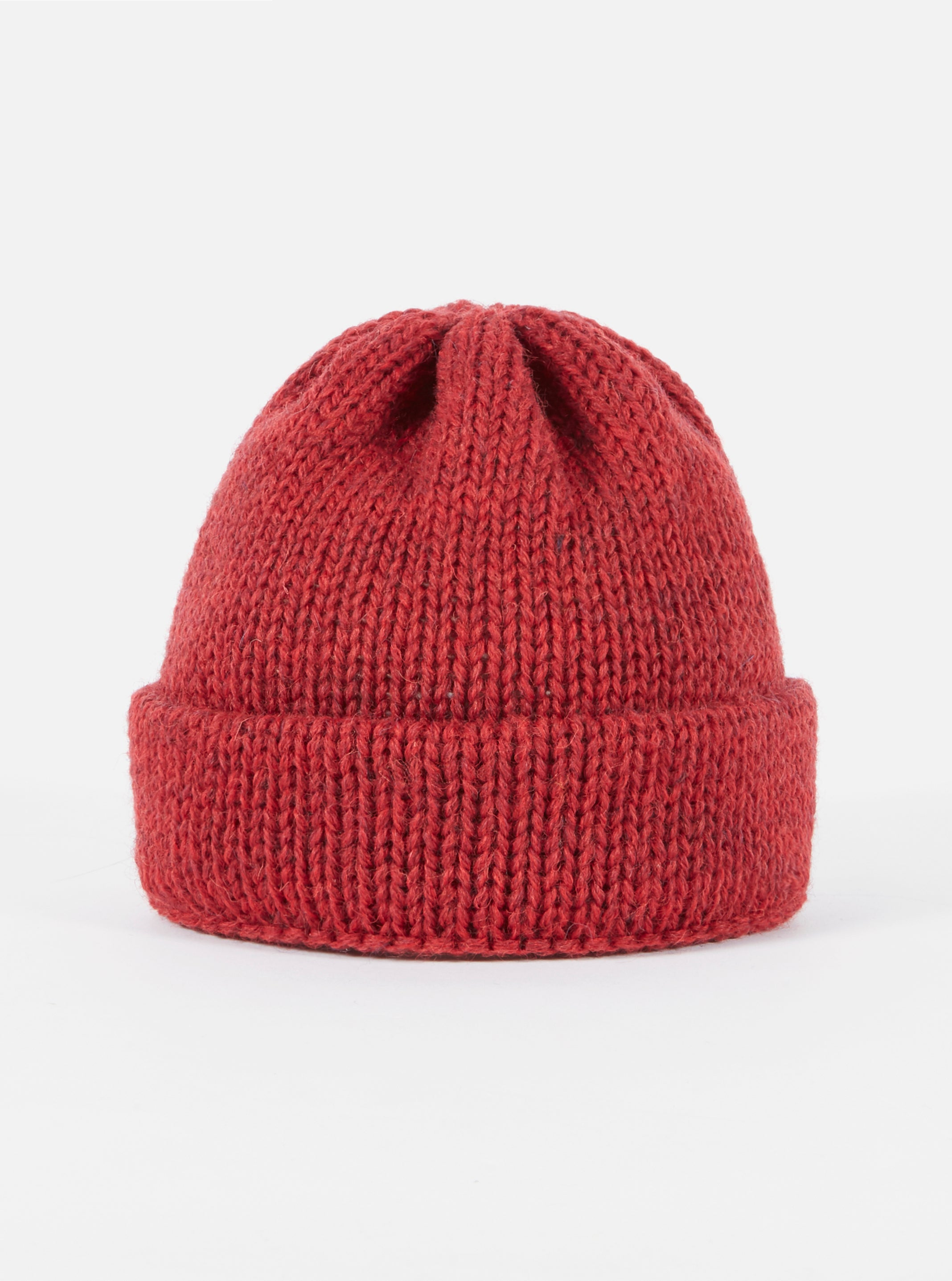 Universal Works Short Watch Cap in Red British Wool