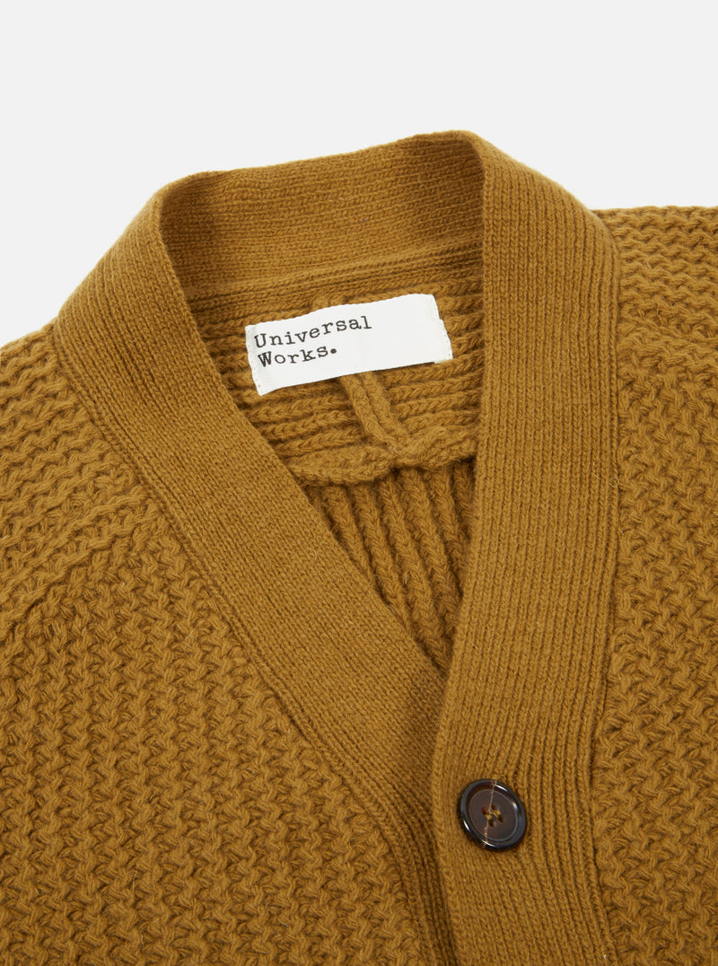 Universal Works Vince Cardigan in Mustard Rack Stitch Knit