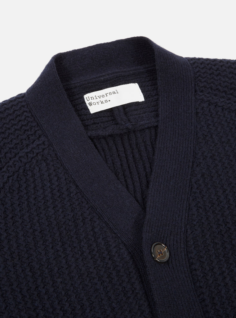 Universal Works Vince Cardigan in Navy Rack Stitch Knit
