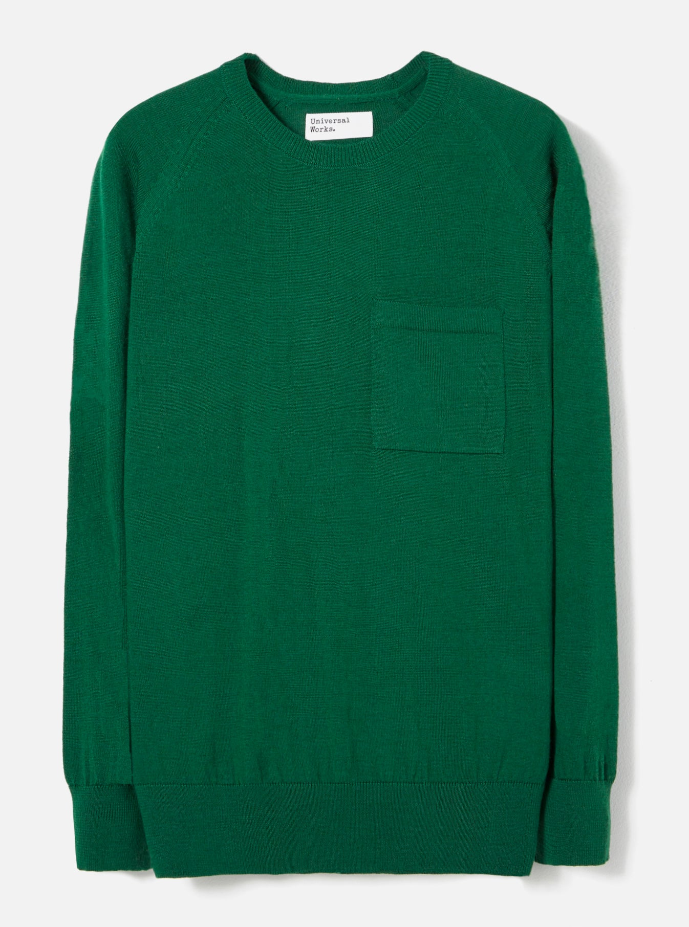 Universal Works Loose Pocket Crew in Green Merino Knit