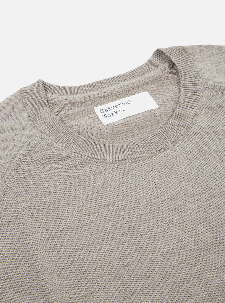 Universal Works Loose Pocket Crew in Taupe Merino Knit