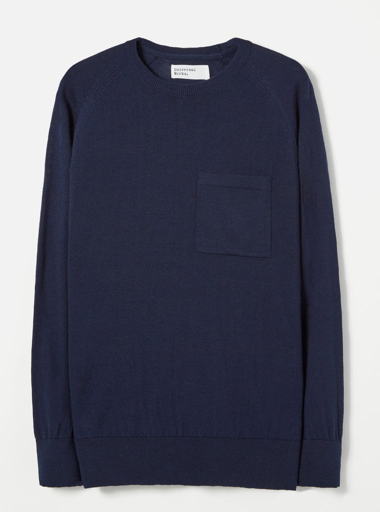 Universal Works Loose Pocket Crew in Navy Merino Knit