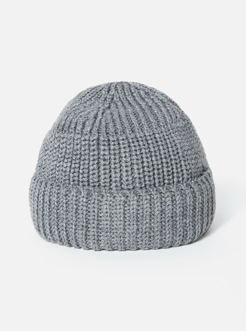 Universal Works Watch Cap in Grey Merino Cardigan