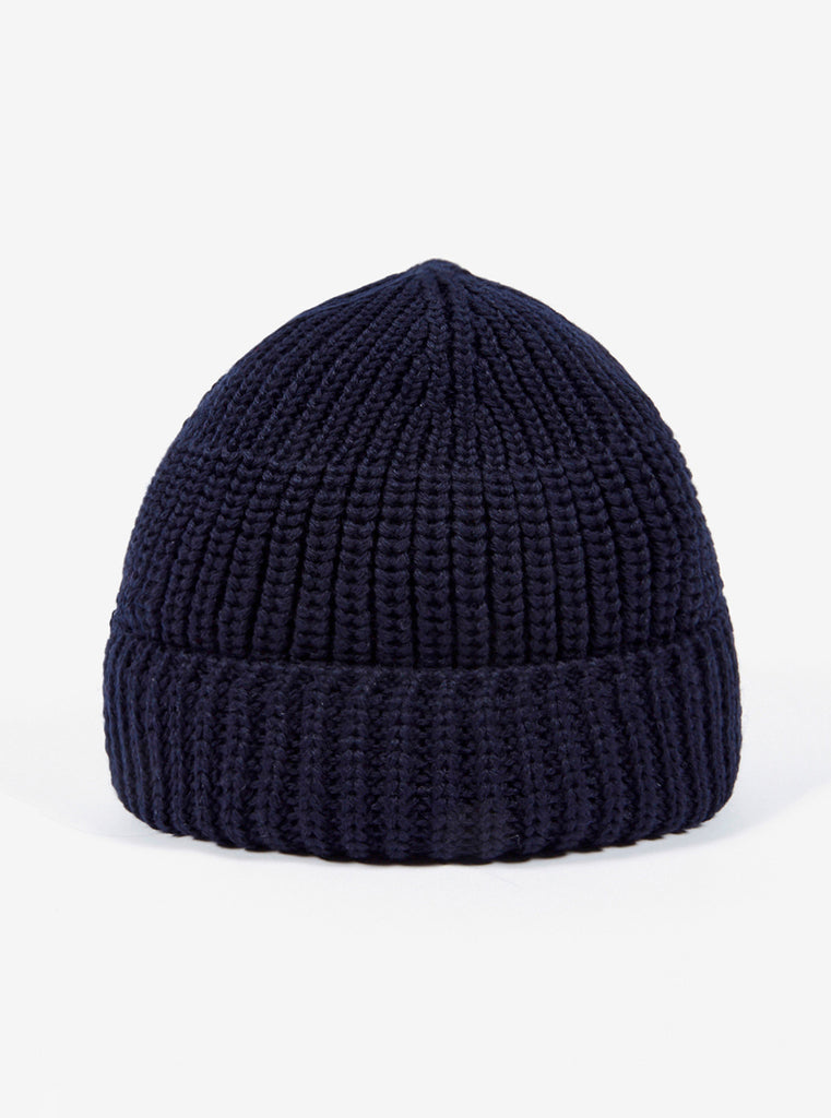 Universal Works Watch Cap in Navy Merino Cardigan