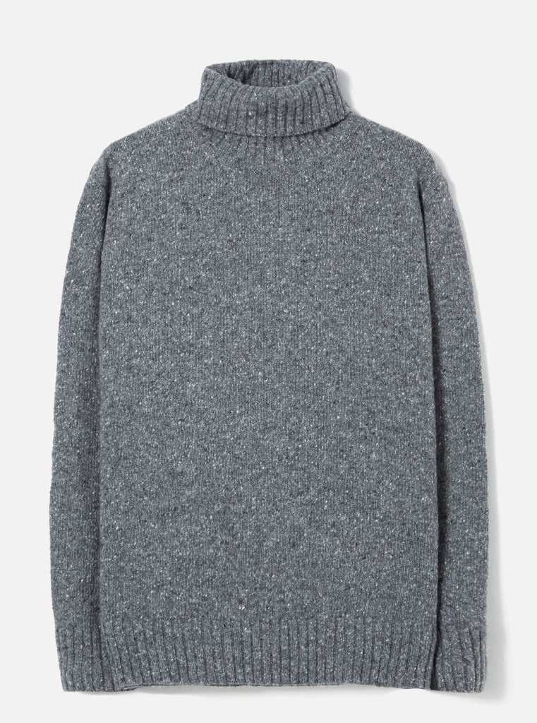 Universal Works Roll Neck in Grey Lambswool Fleck