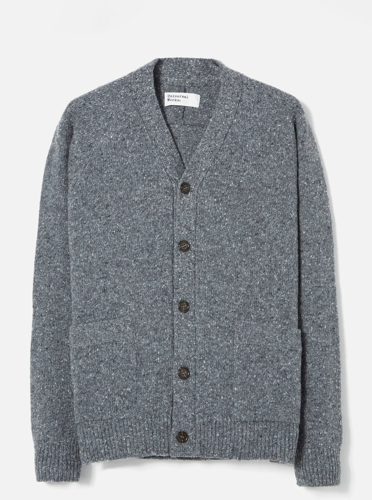 Universal Works Vince Cardigan in Grey Lambswool Fleck