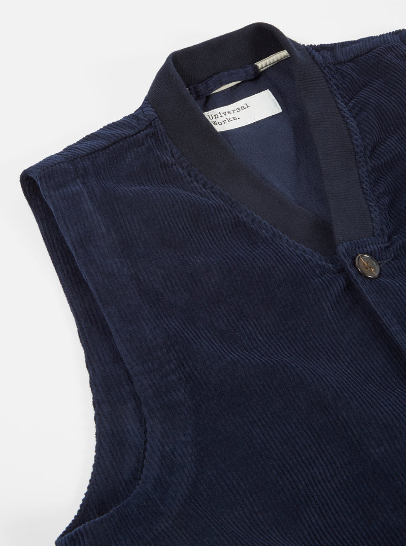 Universal Works Brixton Waistcoat in Navy Cord