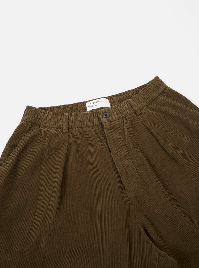 Universal Works Pleated Track Pant in Olive Cord