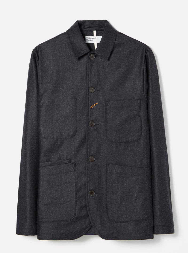 Universal Works Bakers Jacket in Charcoal Flannel