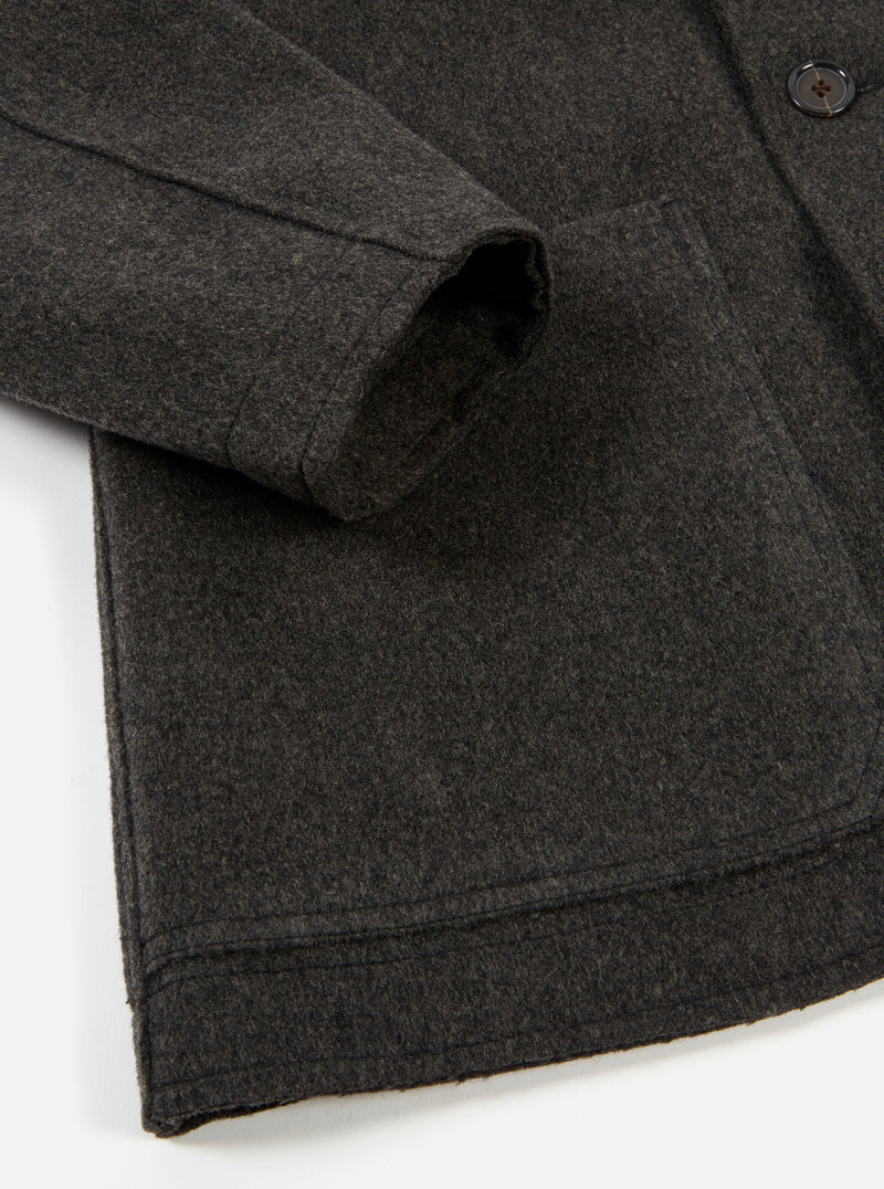 Universal Works Bakers Chore Jacket in Charcoal Heavy Melton