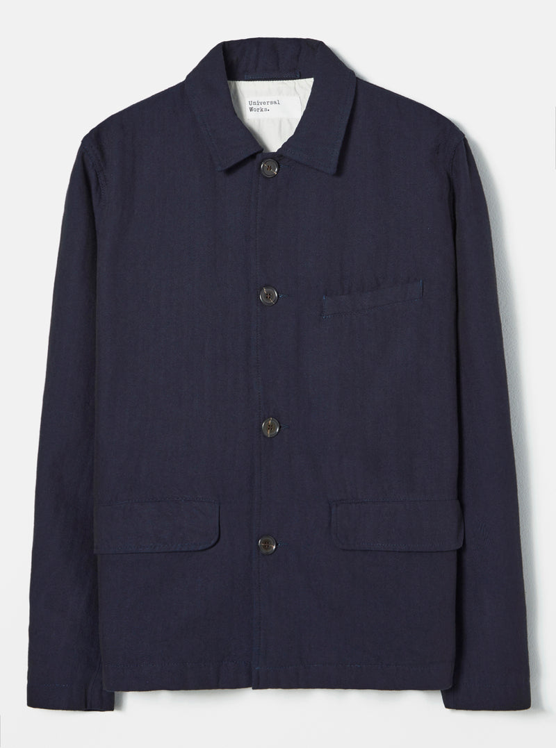 Universal Works Warmus Jacket in Indigo Denim Herringbone