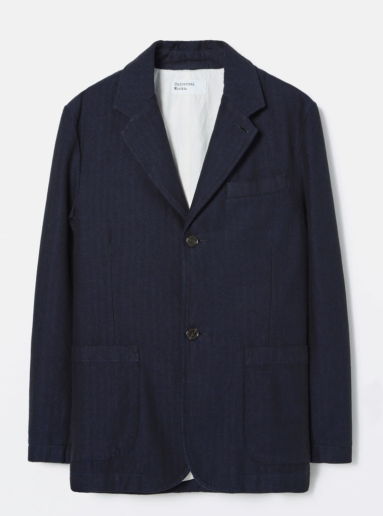 Universal Works Two Button Jacket in Indigo Denim Herringbone