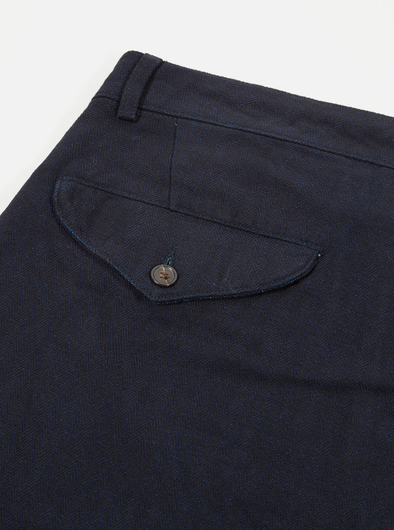 Universal Works Aston Pant in Indigo Denim Herringbone