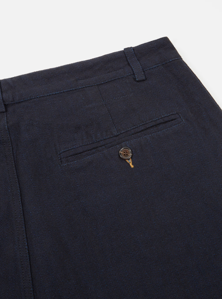 Universal Works Pleated Pant Indigo Denim Herringbone