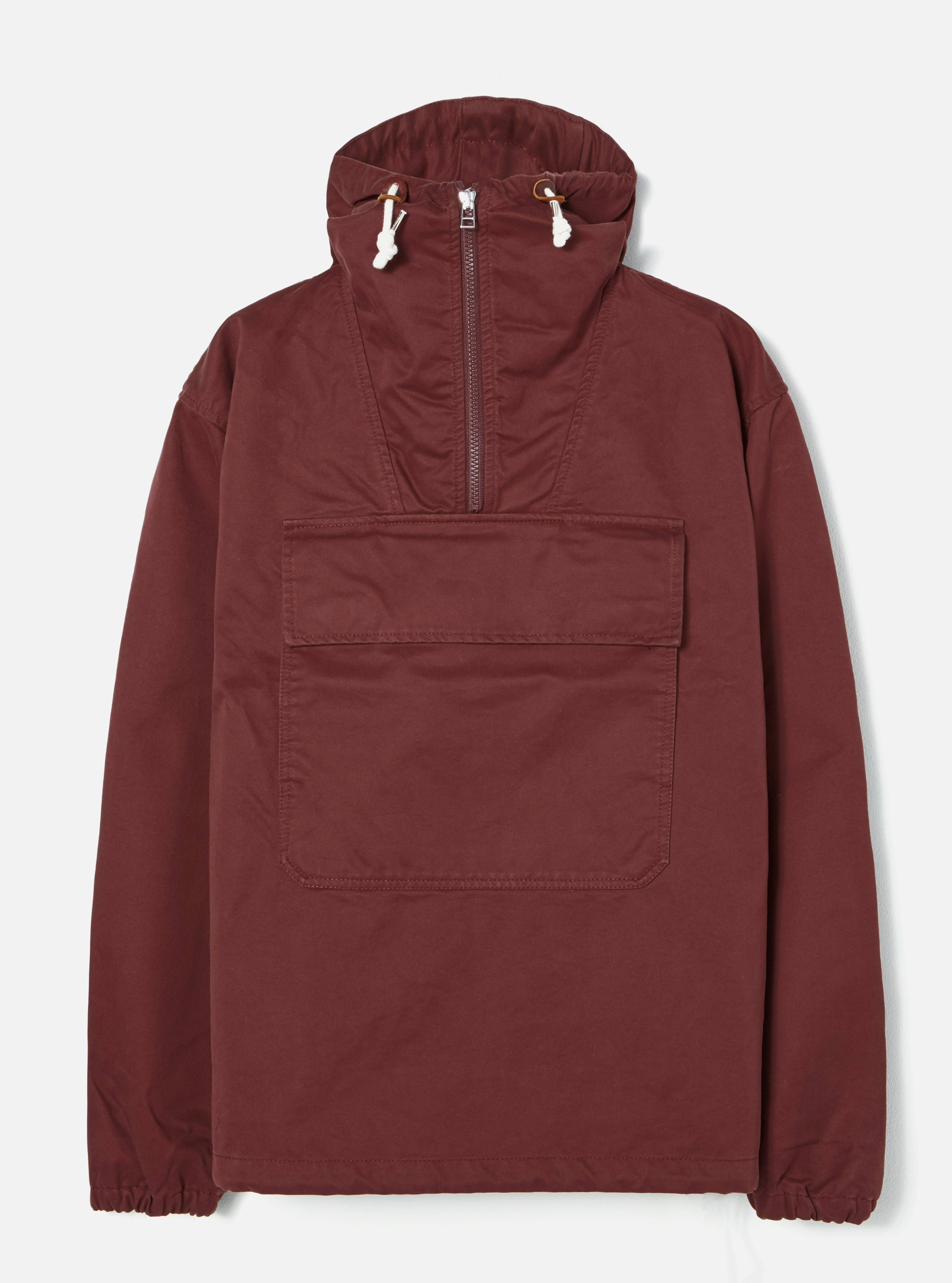 Universal Works Anorak in Burgundy Rainproof Cotton