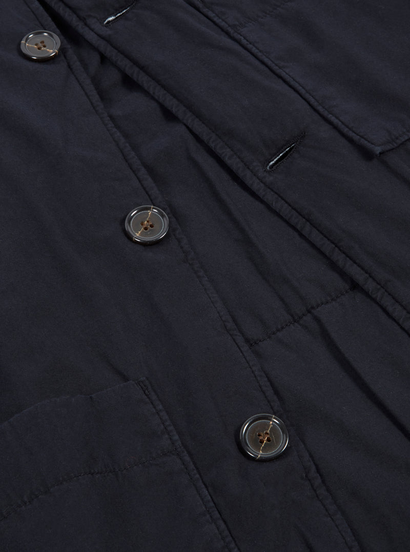 Universal Works Simple Bakers Jacket in Midnight Quilt Insulated Cotton
