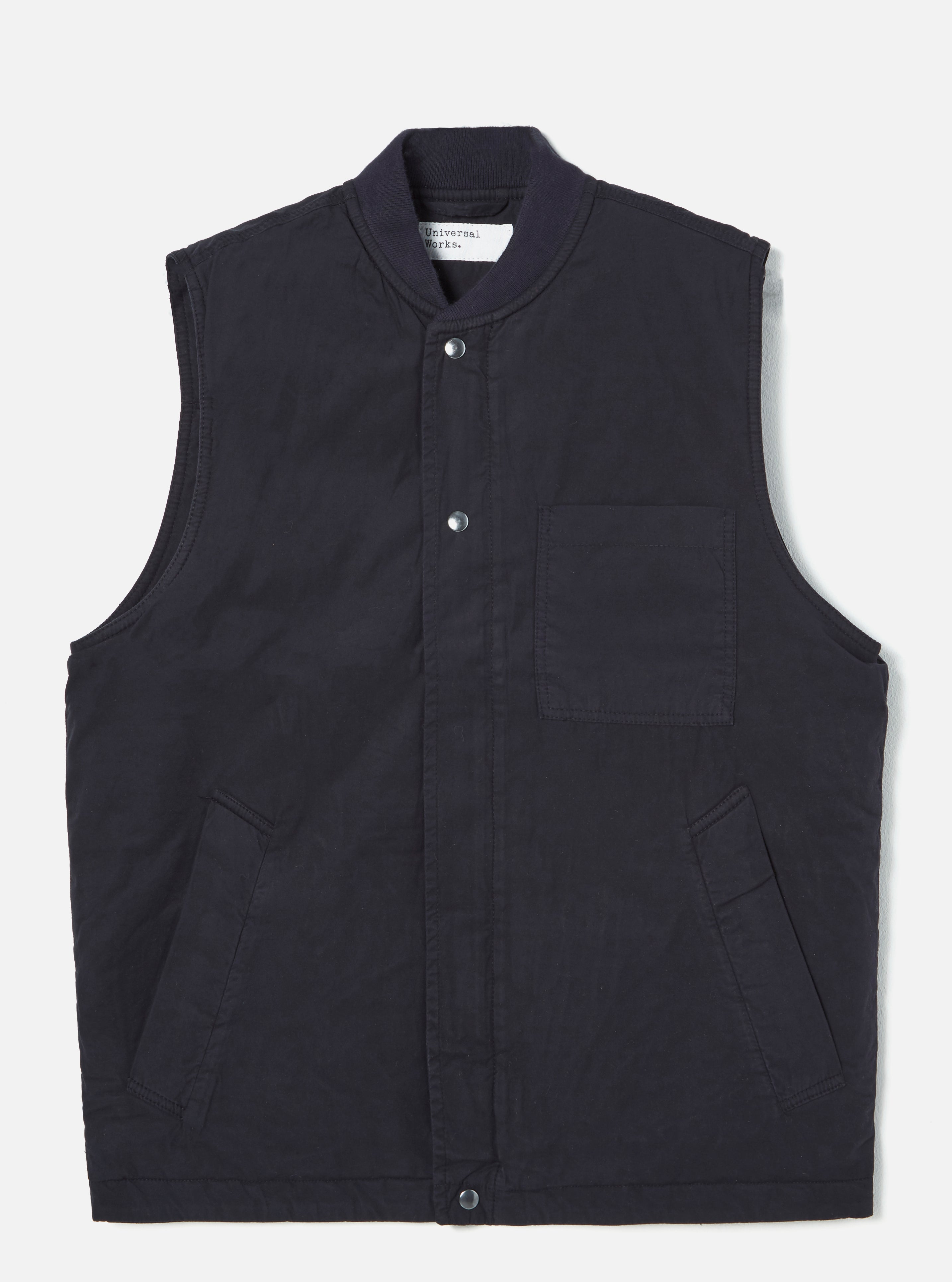 Universal Works Carlton Gilet in Midnight Quilt Insulated Cotton