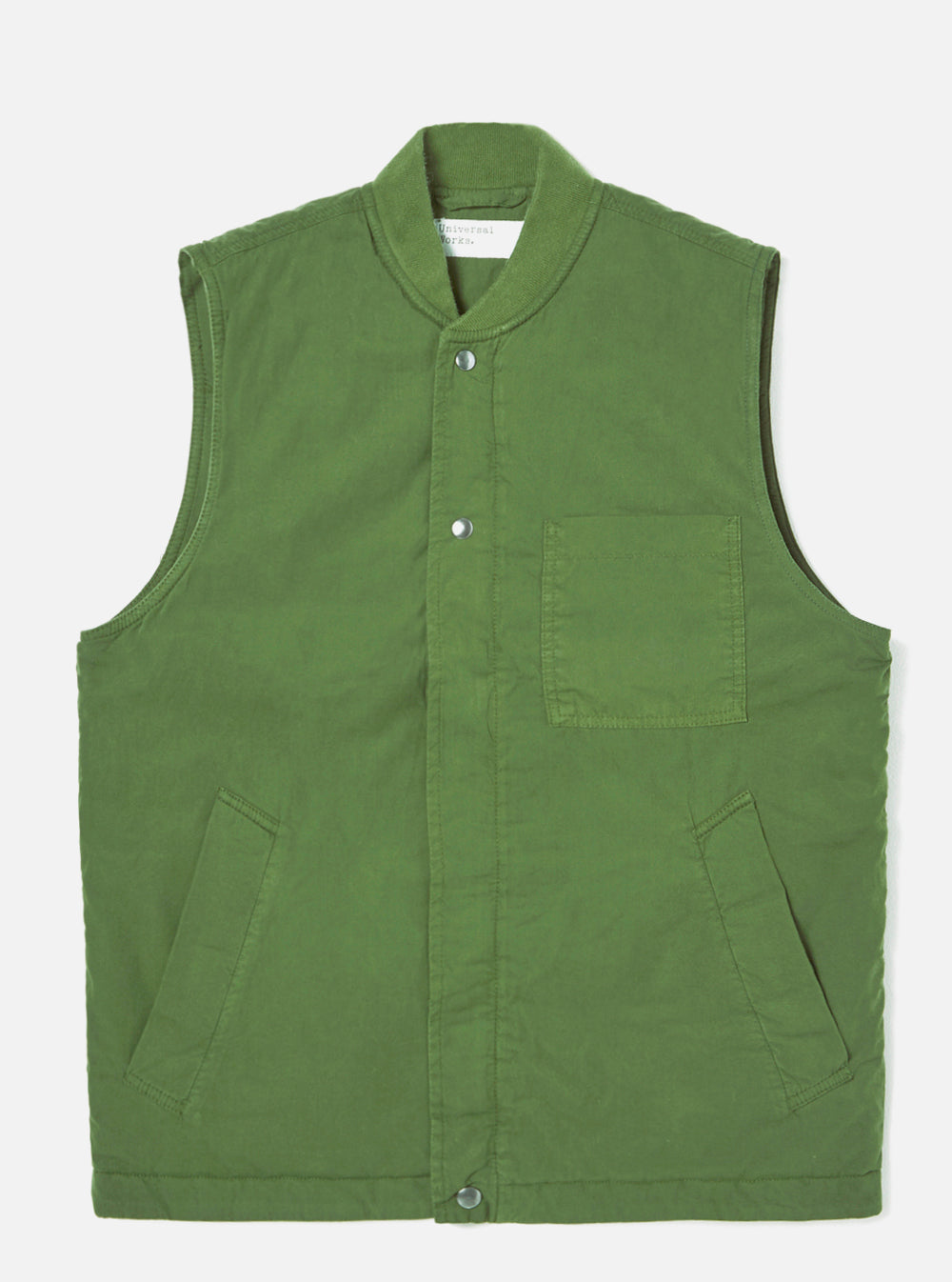Universal Works Carlton Gilet in Green Quilt Insulated Cotton
