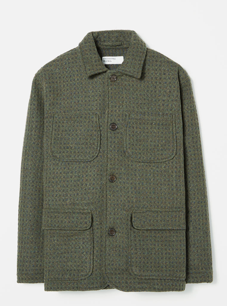 Universal Works Labour Jacket in Olive Check 3D Tweed