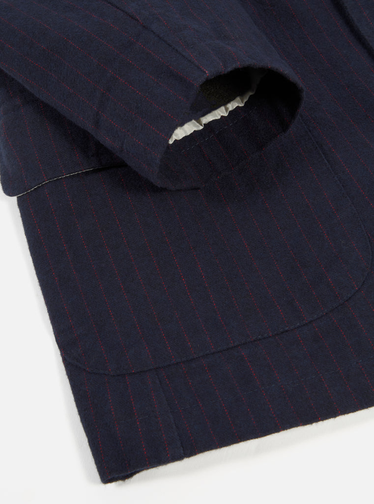 Universal Works Barra Jacket in Navy Cotton Pinstripe
