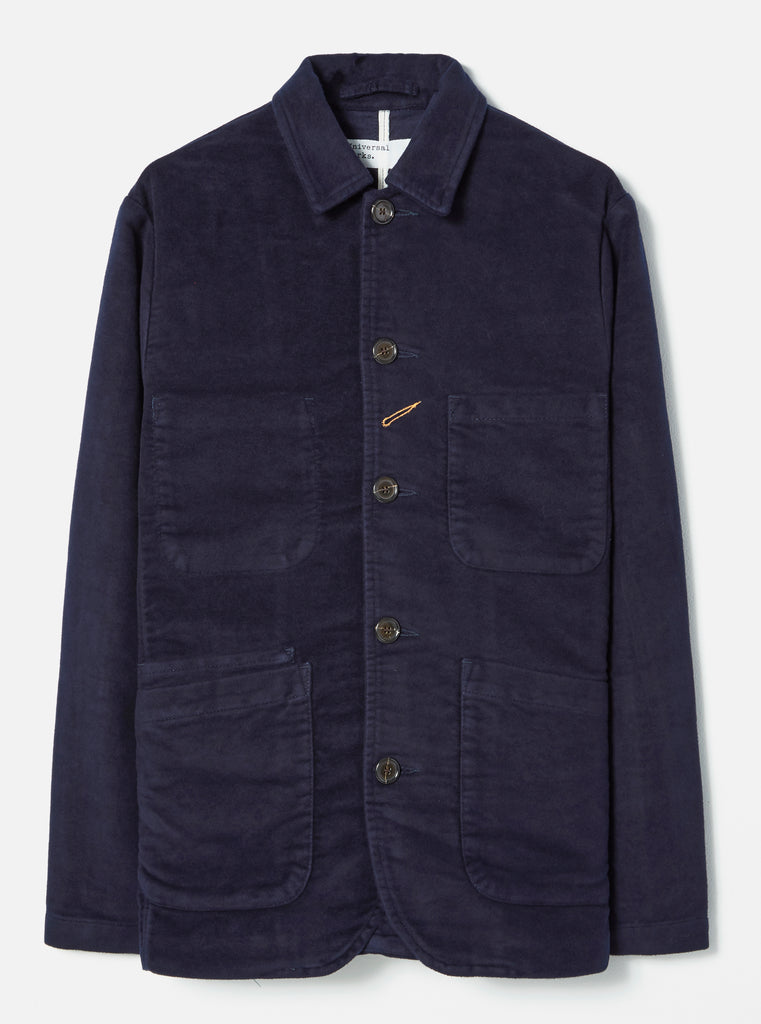 Universal Works Bakers Jacket in Navy Moleskin