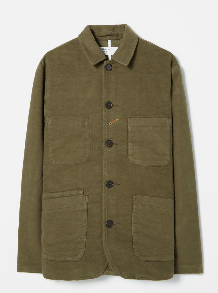 Universal Works Bakers Jacket in Moss Moleskin