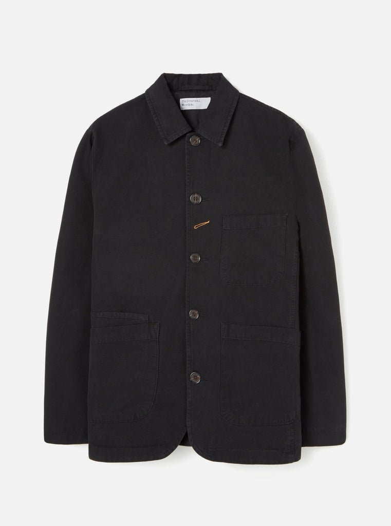 Universal Works Bakers Jacket in Black Canvas