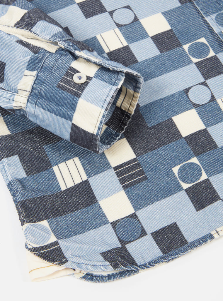 Universal Works Standard Shirt in Blue Circle Printed Cord