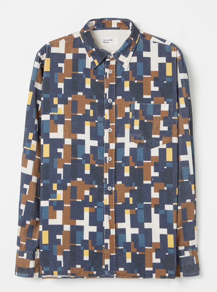 Universal Works Standard Shirt in Navy Square Printed Cord