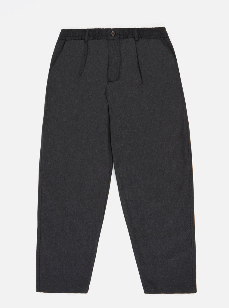 Universal Works Pleated Track Pant in Charcoal Flannel