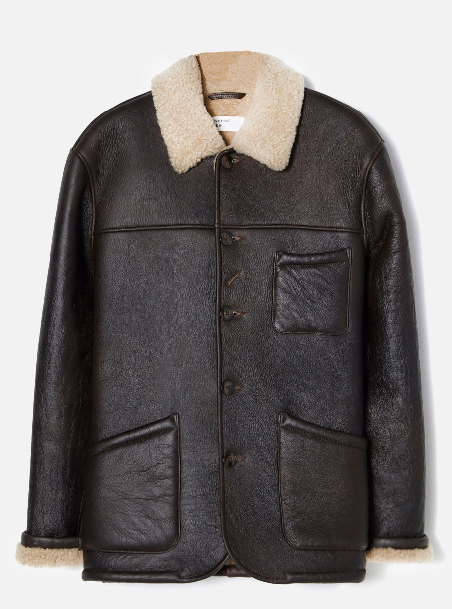 Universal Works Sheepskin Bakers Jacket in Brown Sheepskin