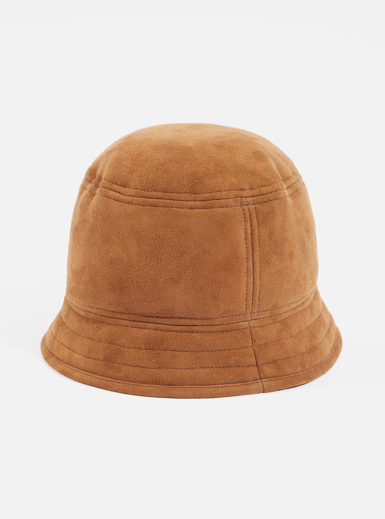 Universal Works Shearling Bucket Hat in Cumin Suede Shearling