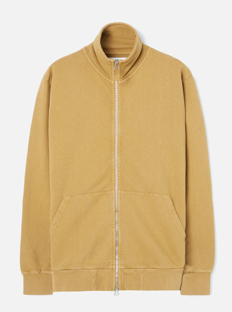 Universal Works Zip Through Sweat Jacket in Mustard Dry Handle Loopback