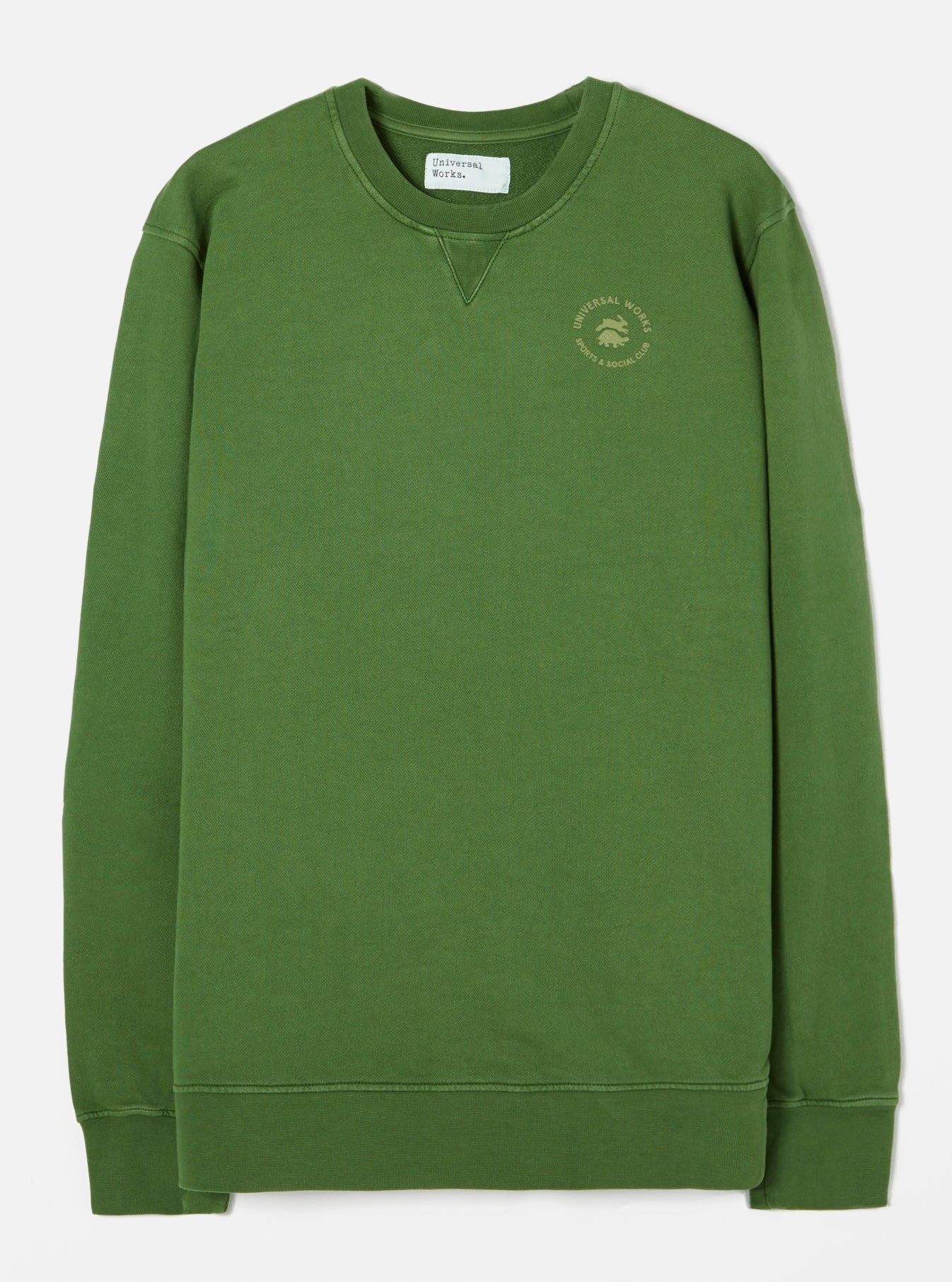 Universal Works S&SC Print Crew in Green Dry Handle Loopback