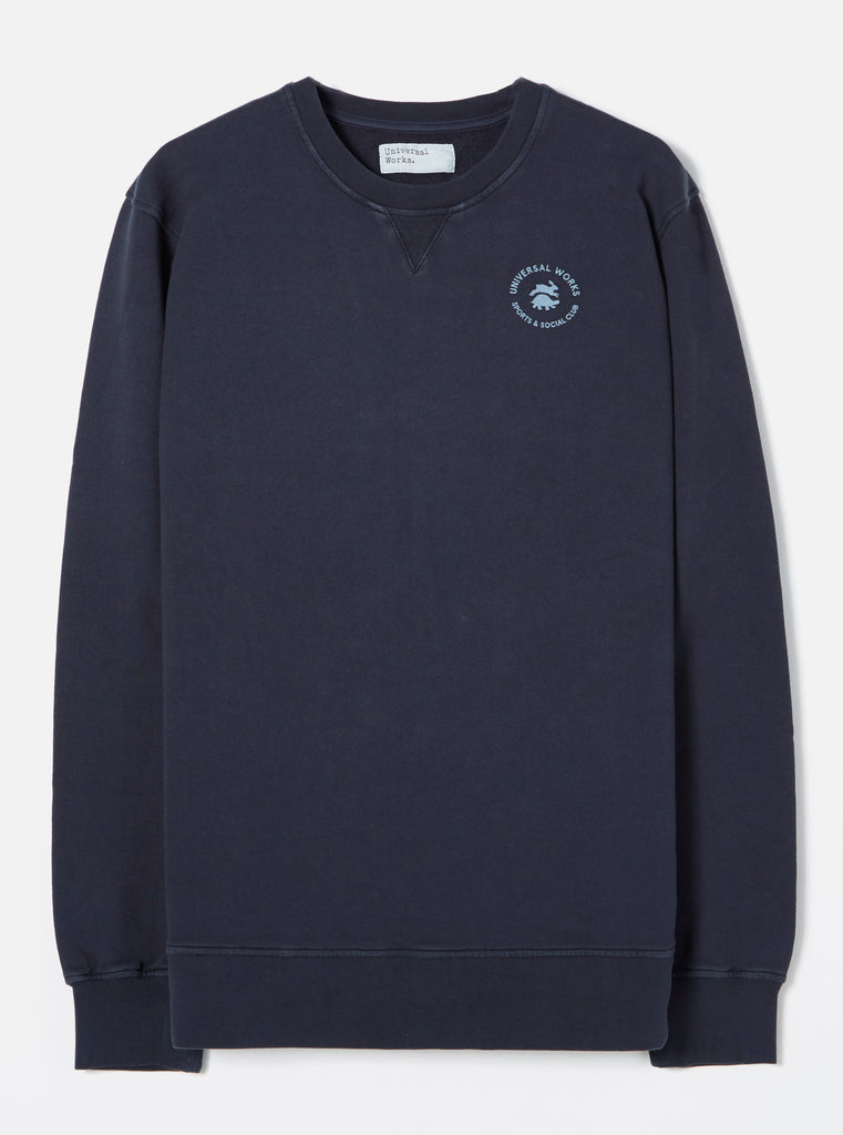 Universal Works S&SC Print Crew in Navy Dry Handle Loopback