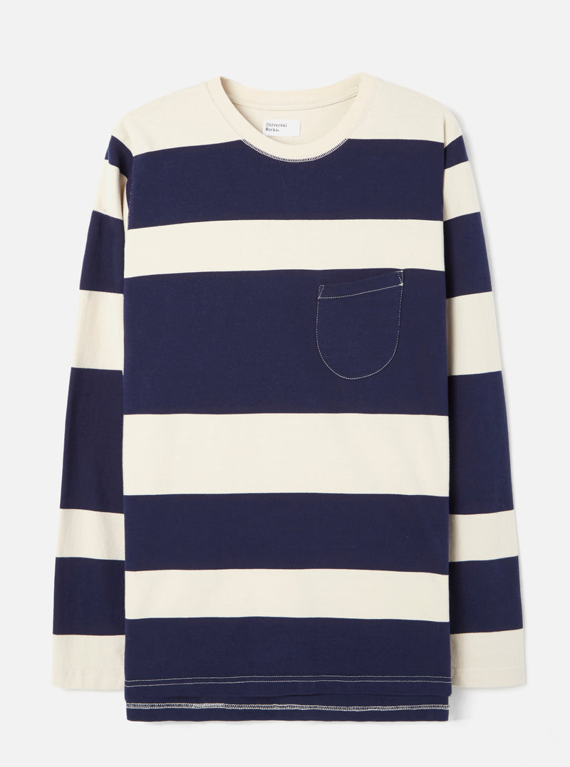 Universal Works Long Sleeve Tee in Ecru/Navy Rugby Stripe