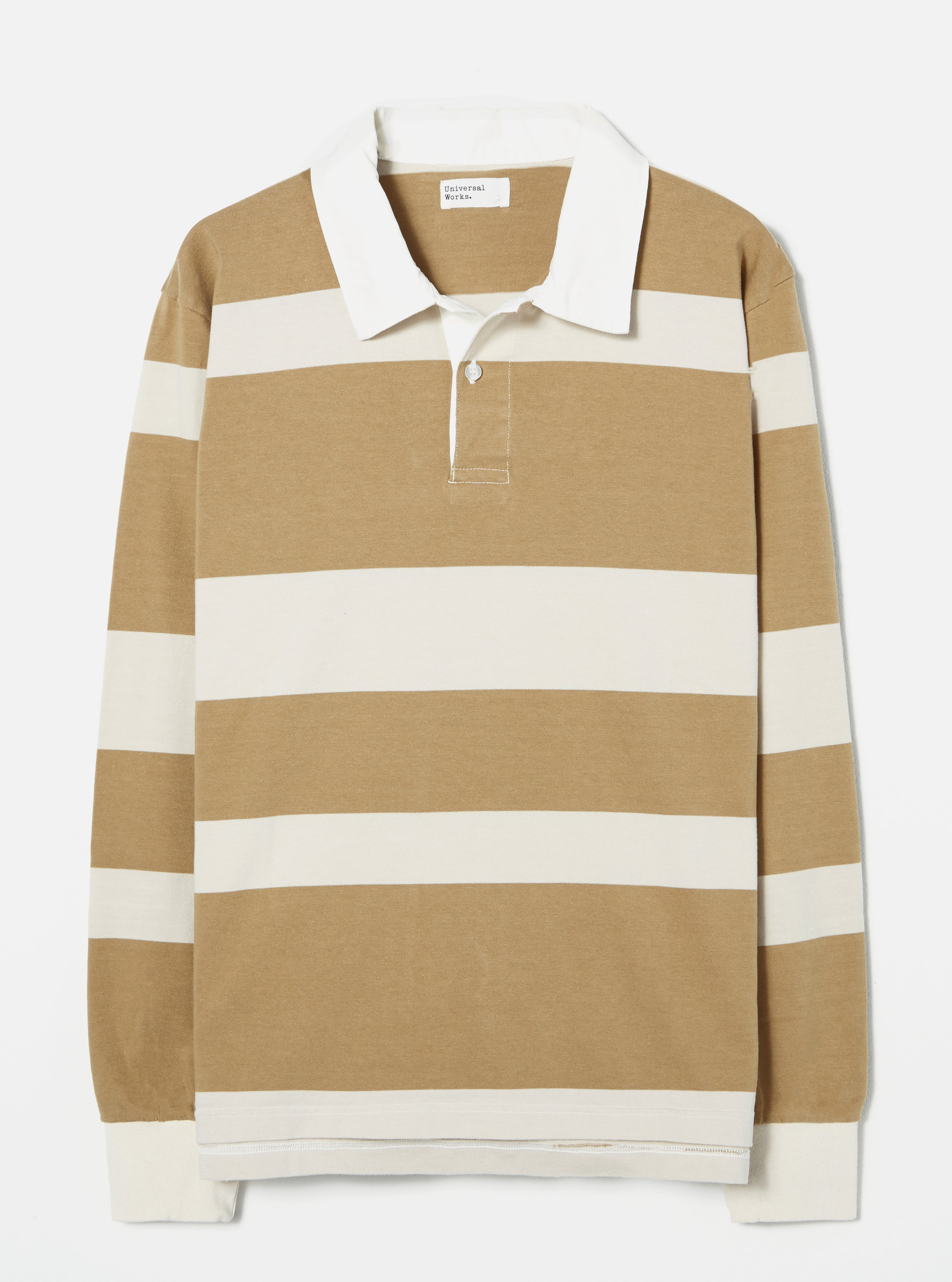 Universal Works Rugby Shirt in Ecru/Sand Stripe