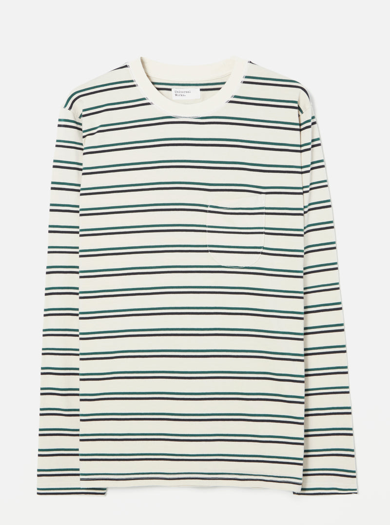 Universal Works Long Sleeve Tee in Ecru Fine Stripe