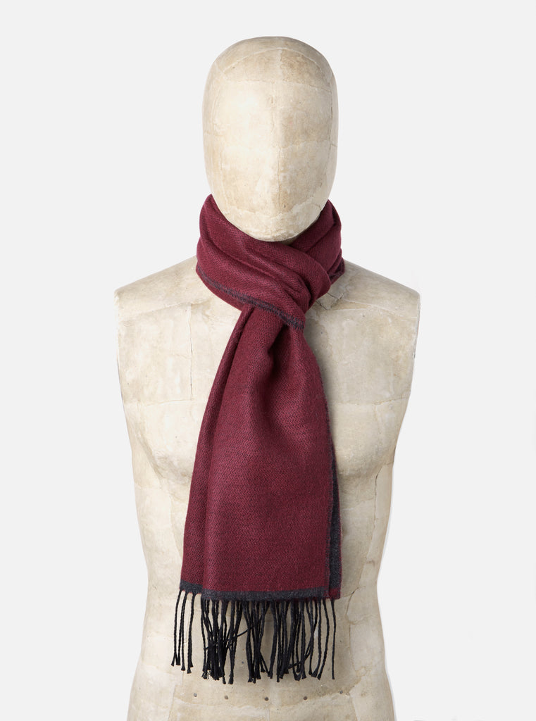 Universal Works Scarf in Claret/Charcoal Double Sided