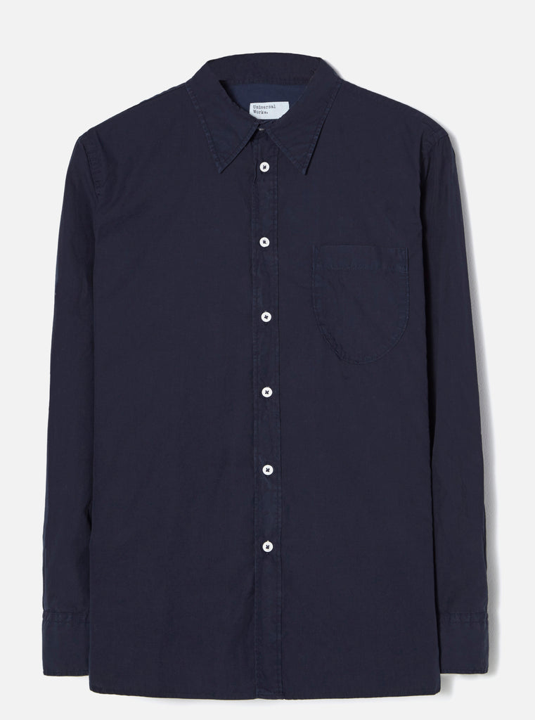 Universal Works Brook Shirt in Navy Poplin