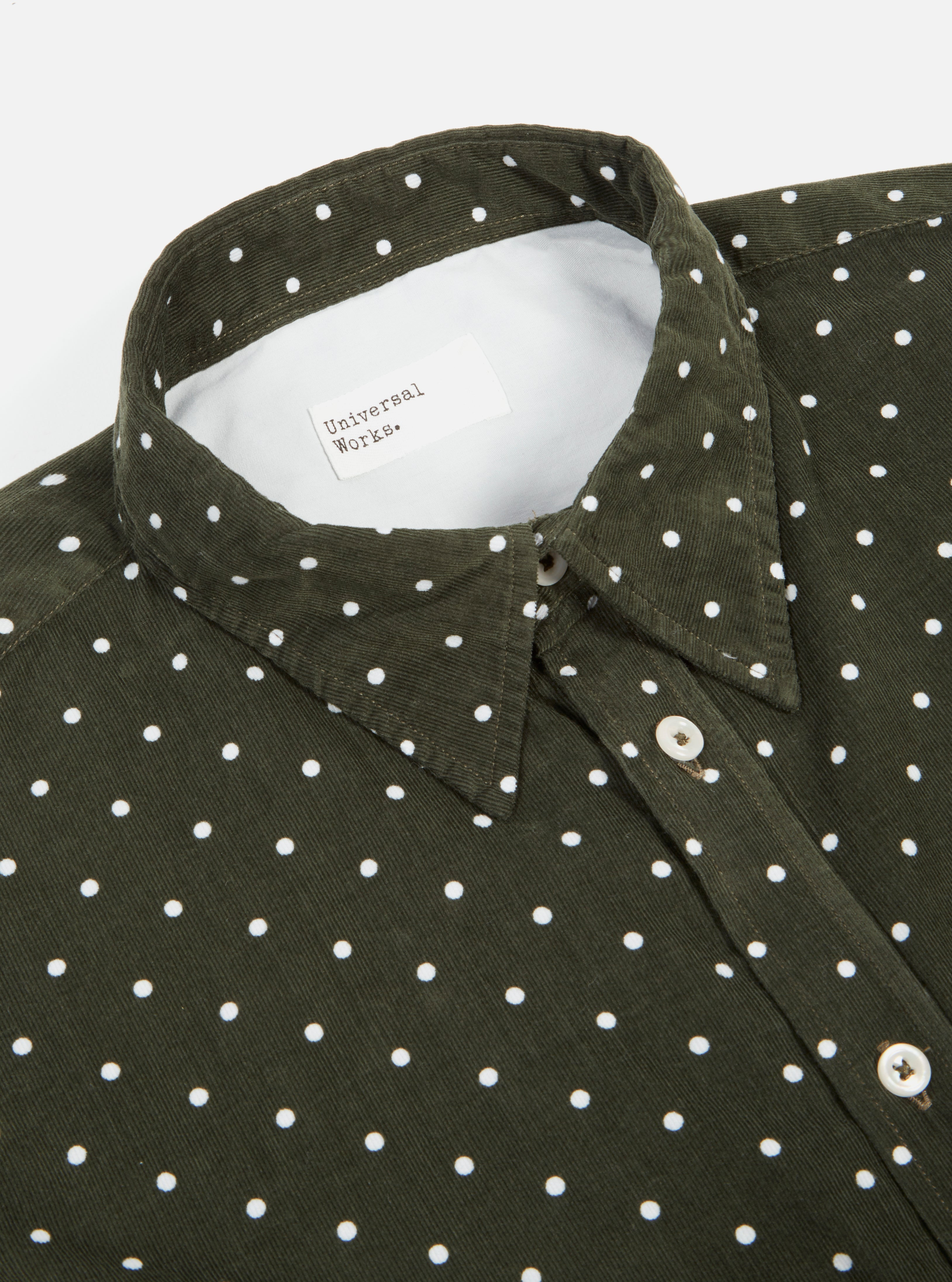 Universal Works Brook Shirt in Olive Spot Cord