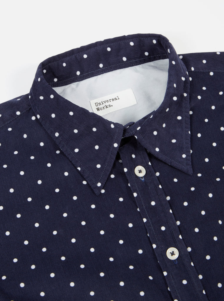 Universal Works Brook Shirt in Navy Spot Cord