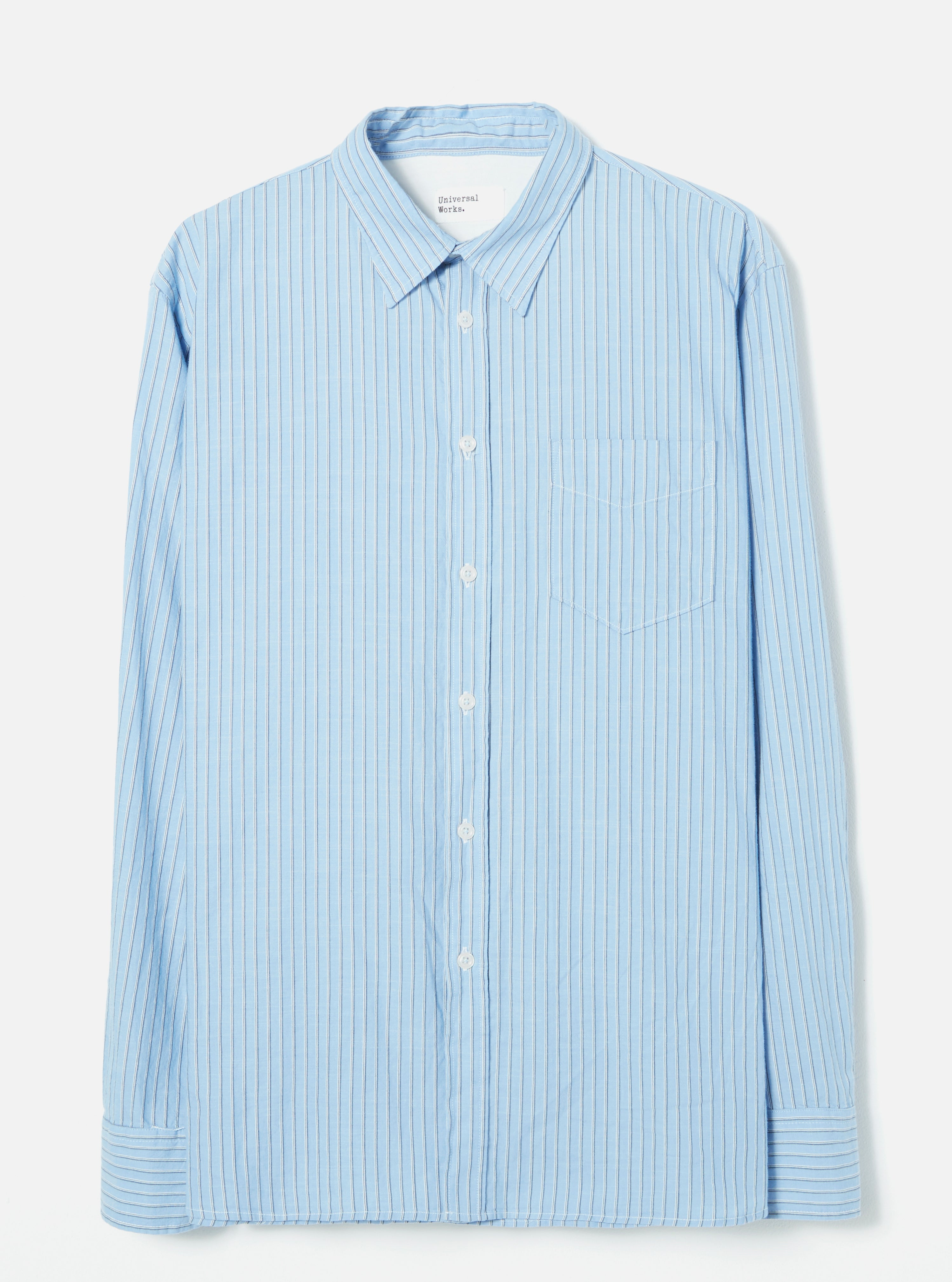 Universal Works New Standard Shirt in Blue City Stripe