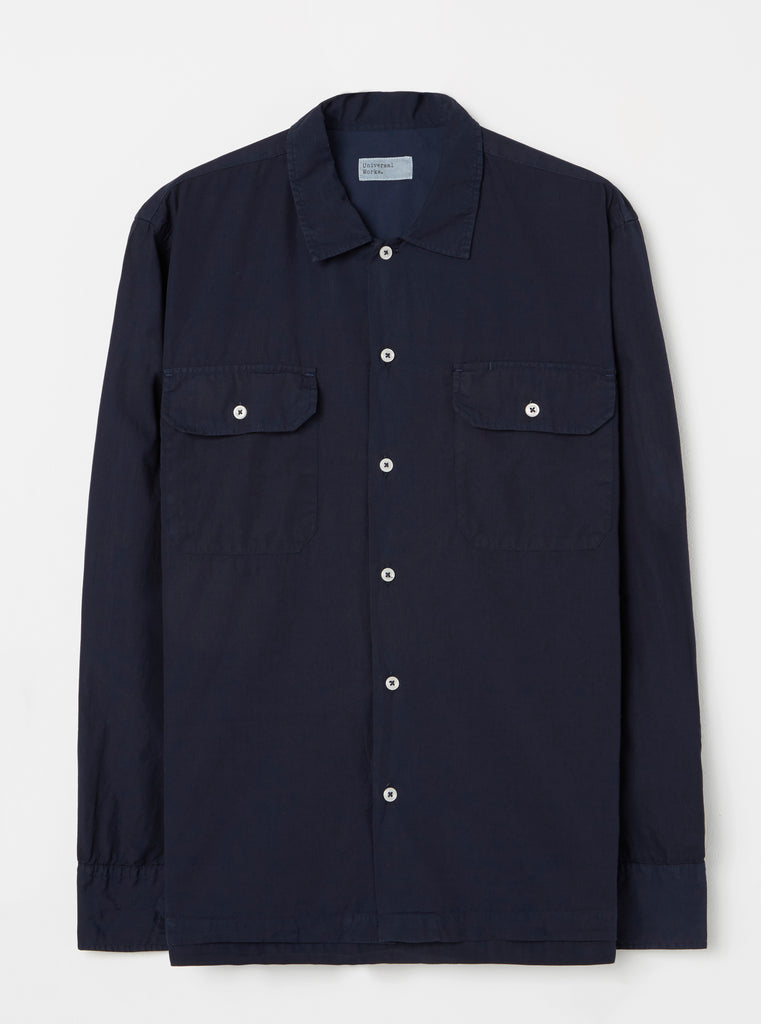 Universal Works L/S Utility Shirt in Navy Poplin
