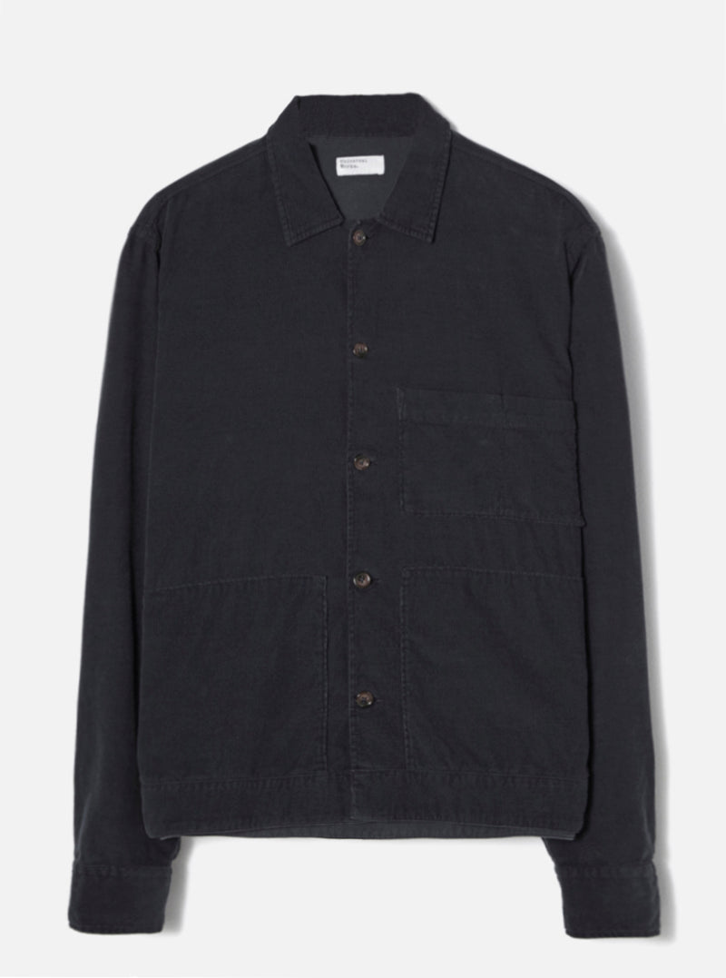 Universal Works Uniform Shirt in Black Fine Cord